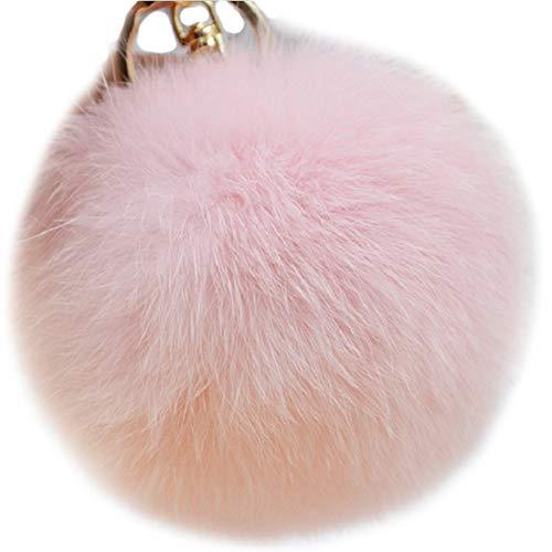 (Valpeak 9.5cm Rabbit Fur Ball Pom Pom Keychain Fluffy Fur Keychain for Women Fur Pom Pom Key Chain(Light Pink))