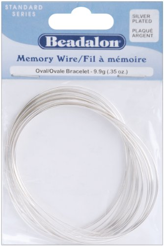 Memory Wire Oval Bracelet .62mm .35oz-Silver-Plated - 23 Coils