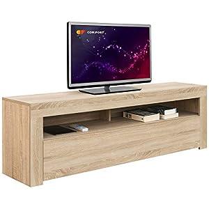COMIFORT Meuble TV – Table pour Salon Moderne, Porte Battante et Grandes Étagères de Rangement, Très Robuste, Fabriquée…