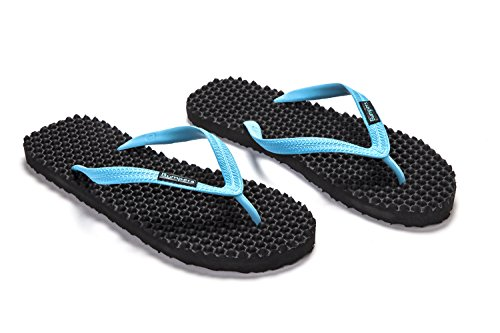 Bumpers Premium Men & Women's Flip Flops | Massage Sandals That Helps Increase Energy, relieves Feet and Legs, Assists In Recovery After Workout With Reflexology Effect, Eco-Friendly Surfer Beach Fli Black & Light Blue