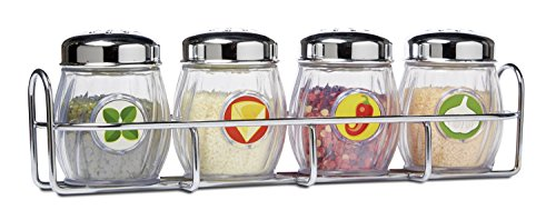 (Melissa & Doug Condiments Set (5 pcs) - Play Food, Stainless Steel Caddy )