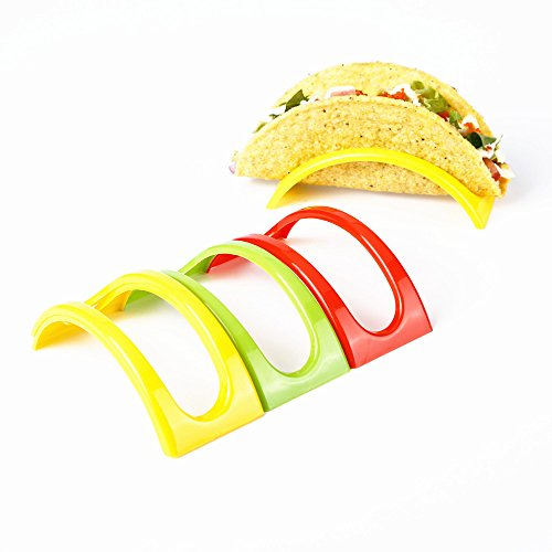 Stackable Taco Stand Up Holders,Colorful Non Toxic BPA Free Rack , Set of 18, 3 Colors by SDJ