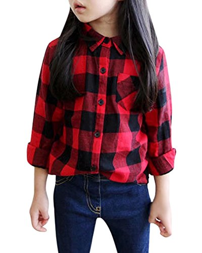 Girls Long Sleeves Button Down Warm Plush Fleece Lined Plaid Flannel Shirt Tops Blouse? Red, Age 7T-8T (7-8 Years) = Tag ()