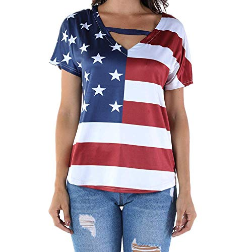 (Women Casual Distressed American Flag Short Sleeve T-Shirt Bandage V Neck Blouse Tops for Women Shirt Plus Size (5XL, Red))