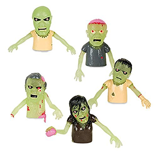 Set of 5 Glow in the Dark Finger Puppet Zombies (Walking Puppet Finger)