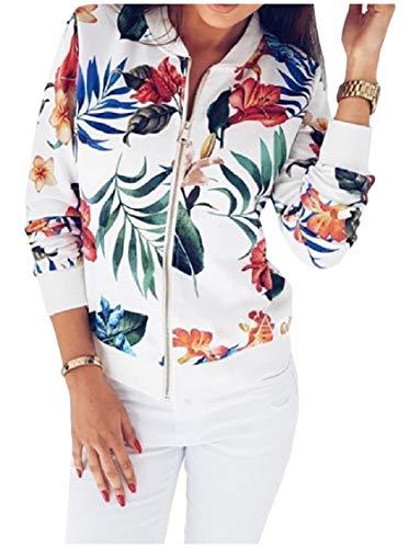 EnergyWomen Fashion Short Style Print Zip-up Baseball Jackets Cardigan Coat White