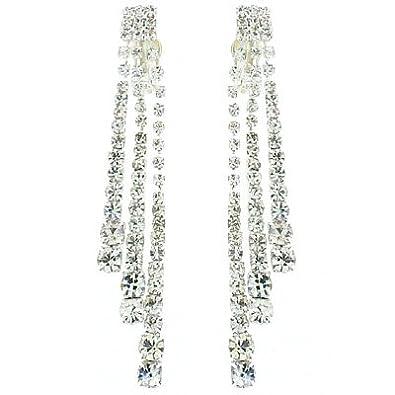 Clip On Earrings Store Long Triple Strand Diamante Crystal Drop Clip On Earrings JguXojdK