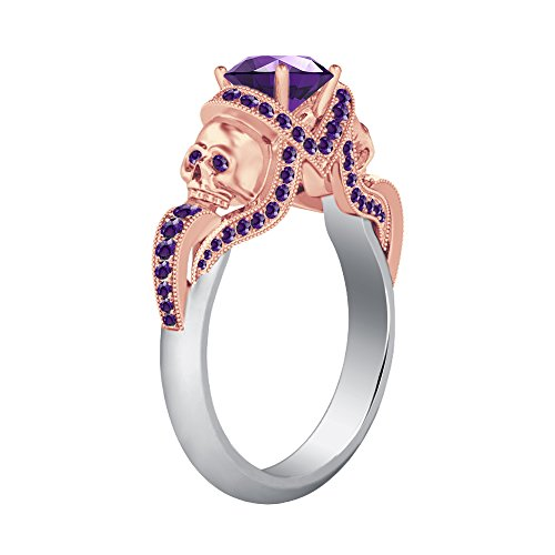 Smjewels 14K White & Rose Gold PL Engagement Two Skull Design Ring 1.52Ct Amethyst CZ Diamond