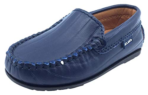 Atlanta Mocassin Boy's and Girl's Leather Embossed Stripe Loafers