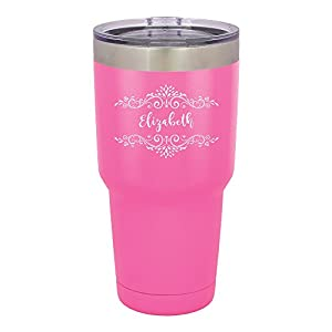 Froolu Thermal Water Bottle - Pink Personalized Laser Engraved Tumbler - Hydro Travel Cup Flask