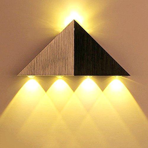 Lemonbest Modern Triangle 5W LED Wall Sconce Light Fixture Indoor Hallway Up Down Wall Lamp Spot Light Aluminum Decorative Lighting for Theater Studio Restaurant Hotel (Warm White)