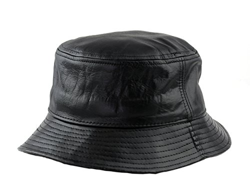 Leather Bucket Hat - NYFASHION101 Lightweight Genuine Leather Black Bucket Style Hat Cap Made in USA, L/XL