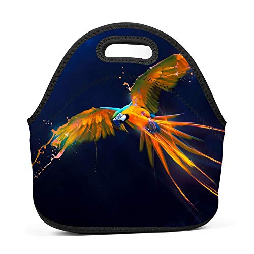 Gujigur Handbags Digital Parrot Flying Bird Lunch Bag for Adult Women and Men - Idea for Beach,Picnics,Road Trip,Meal Prep,Everyday Lunch to Work or School ()
