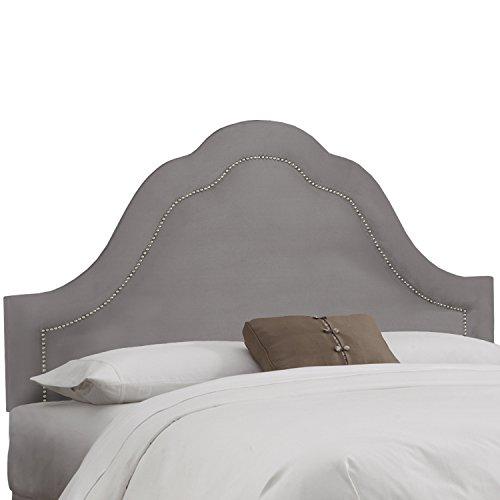 Skyline Furniture Velvet Steel Grey Arch Nail Button Headboard California King Arch Nail Button Headboard