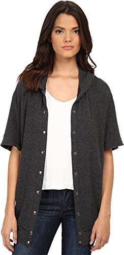 Michael Stars Women's Madison Brushed Jersey Hooded Coat Charcoal Sweater XS (US 0-2) by Michael Stars