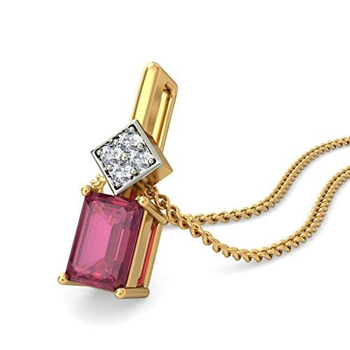 14K Or jaune 0.08CT TW Round-cut-diamond (IJ | SI) et rubis Pendentif