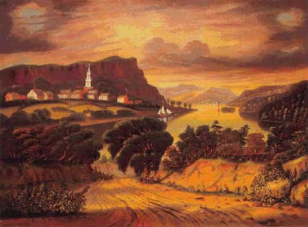 Scarlet Quince CHA001 The Hudson Valley, Sunset by Thomas Chambers Counted Cross Stitch Chart, Regular Size Symbols