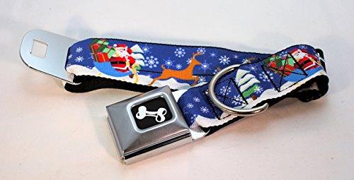 """Buckle Down """"Santa & His Reindeers"""" Dog Collars (Wide Rib..."""
