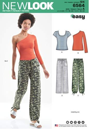 New Look 6564 / D0938 Misses' Pants, Knit Tops (Sizes 8-20) Sewing Pattern (Look Knit New Tops Misses)