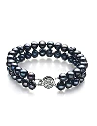 Lavinia Black 6-7mm Double Strand A Quality Freshwater Cultured Pearl Bracelet