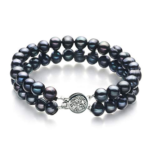 Lavinia Black 6-7mm Double Strand A Quality Freshwater Cultured Pearl Bracelet for Women-8 in Length