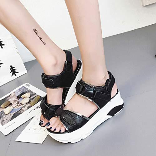Velcros Eté Femme Réglables Tongs Plateforme Sandales Minimalistes Vacances Noir Air Piscine Plein Pantoufles Pour Épais EwItB