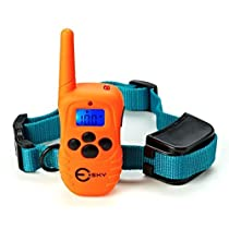 Esky® Rechargeable Backlight LCD Remote Shock Control Pet Dog Training Collar with 100 Level of Vibration 100 Level of Static Shock 1 Level Tone For 15-120lb Dog (12 Month Replacement Warranty)