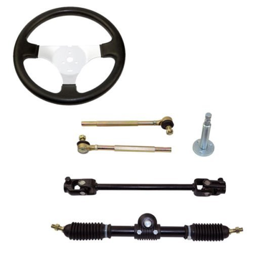 Ting Ao Set of Go Kart Steering Wheel Assembly 110CC Tie Rod RACK Adjustable Shaft Great