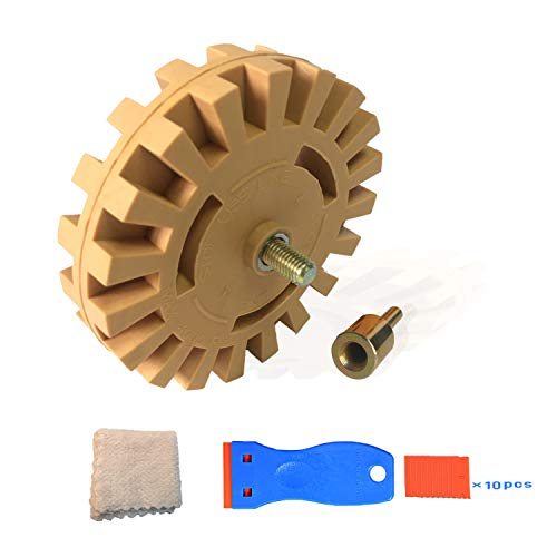 Decal Remover Eraser Wheel with Drill Adapter Kit Including Plastic Razor Scrapers (1PCS) / Plastic Blades (10PCS) / Eco-friendly Cleaning Cloth (1PCS) ()