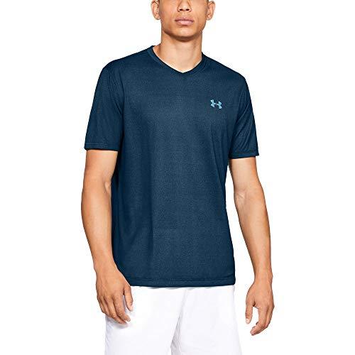 Under Armour Men's Tech V-Neck T-Shirt, Techno Teal (489)/Venetian Blue, Medium