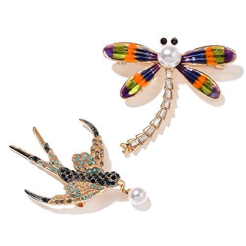 Enameled Dragonfly Brooch - Set of 2 Multi Color Gemstone Crystal, Chroma Enameled Dualtone Dragonfly and Bird Brooch