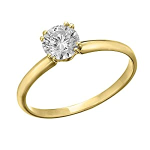IGI Certified 14k yellow-gold Round Cut Diamond Engagement Ring (0.39 cttw, H Color, SI2 Clarity) - size 4