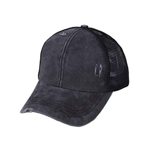 Kiranly Unisex Baseball Cap for Womens Ponytail Hat Criss Cross Messy Bun Trucker Ponycap Dad Hat(A Black)