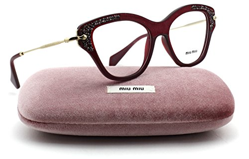 Miu Miu MU 07OV Crystal Pavé Embellishment Frame Women Eyeglasses (Opal Bordeaux Frame, - Sale For Miu Miu