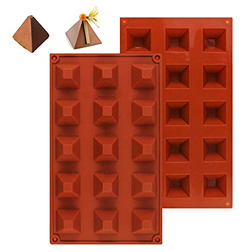 (Bite Size Chocolate Molds Non Stick Pyramid Energy Bar Gummy Candy Molds 15 Cavity for Fondant Truffles Ganache Jelly Pralines Caramels 2 PCS (11.7