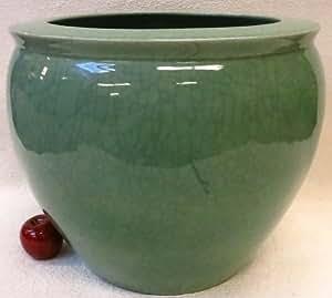 Celadon green porcelain crackled fish bowl 18 for Fish bowl amazon