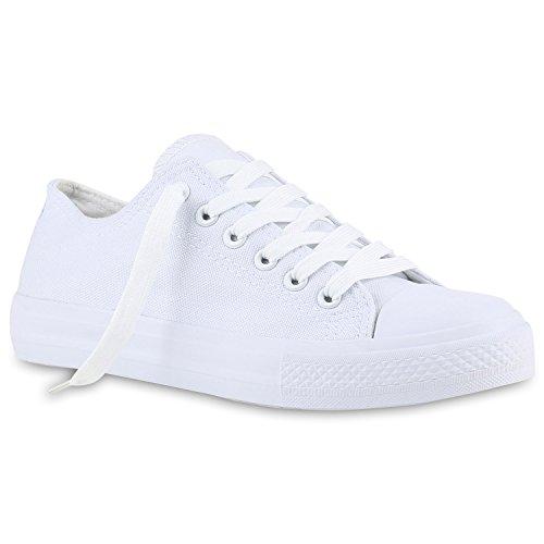 Stiefelparadies Damen Sneakers Spitze Pailletten Pastell Sportschuhe Schnürer Flandell All Weiss Weiss