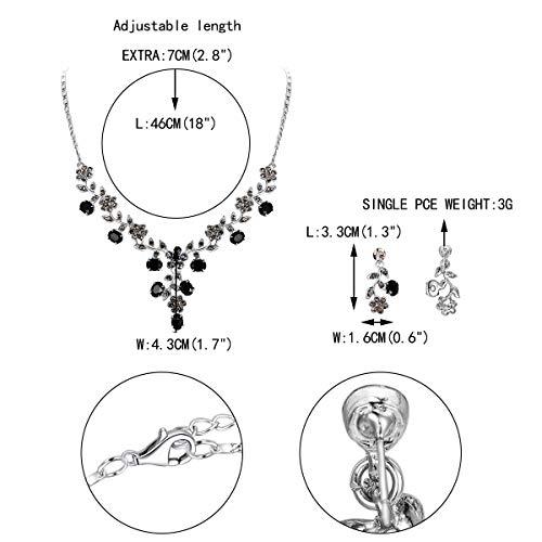 EVER FAITH Flower Leaf Necklace Earrings Set Austrian Crystal 4