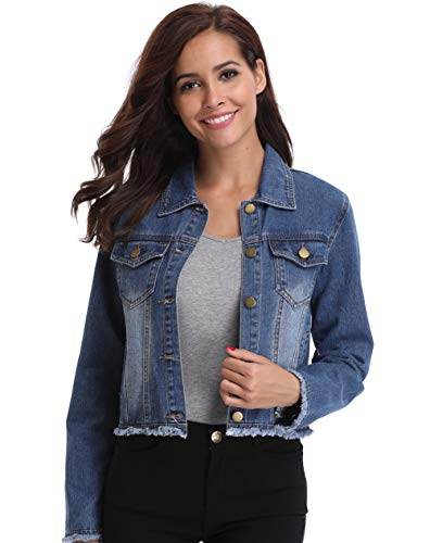 Denim Jacket for Women Casual Button Down Long Sleeve Cropped Jean Outfit with Pockets Blue-XL
