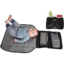 Alphabetz Portable Baby Changing Pad Diaper Bag Mat & Foldable Travel Changing Station with Bonus Wipe Case, Black
