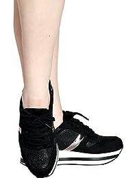 Women's Casual Slip On Lace Up Glitter Platform Fashion...
