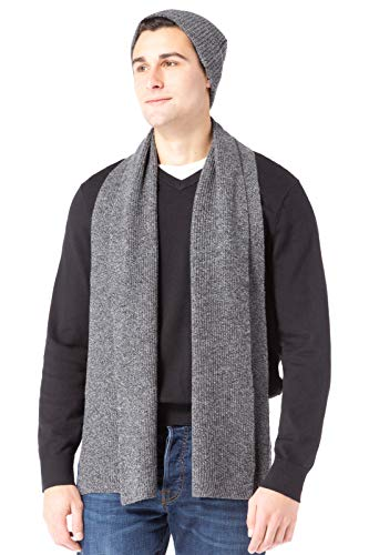 Fishers Finery Men's 100% Cashmere Ribbed Knit Hat and Scarf Set (Heather Gray)
