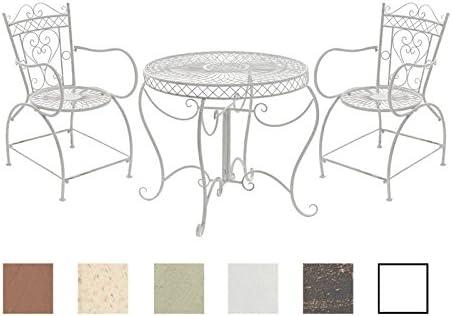 CLP Conjunto de Muebles de Jardín Sheela I Set de 2 Sillas & 1 Mesa de Hierro I Juego de Muebles de Exterior en Estilo Rústico I Color: Blanco Envejecido: Amazon.es: Jardín