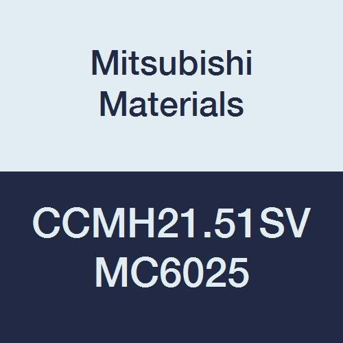 Mitsubishi Materials CCMH21.51SV MC6025 CVD Coated Carbide CC Type Positive Turning Insert with Hole, Rhombic 80°, 0.25