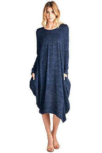 (12 Ami Asymmetrical Heathered Sweater Knit Midi Dress Navy)
