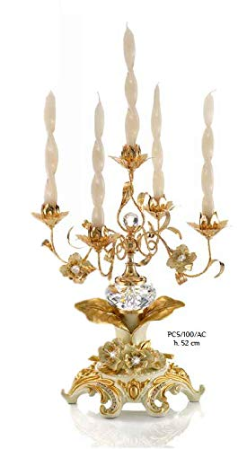 Hand Made Luxury Candle Holder (5 Candles) with Cream WINDFLOWERS & Crystal – Made in Italy