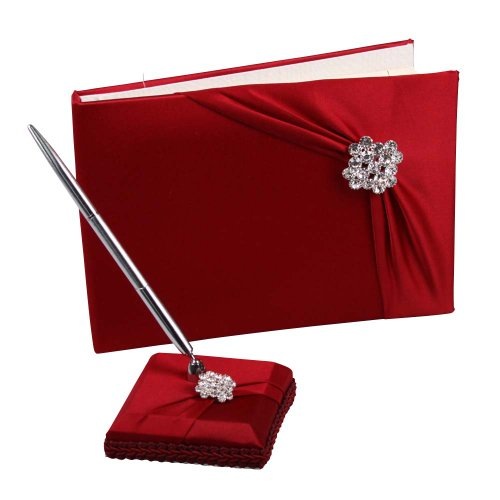 Ivy Lane Design Garbo Collection, Guest Book With Pen Set, Red Claret by Ivy Lane Designs