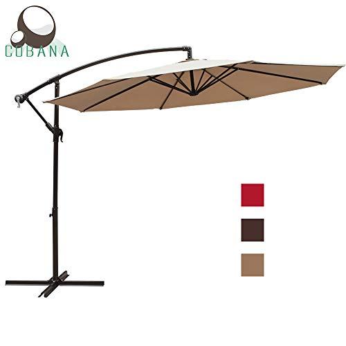 COBANA 10 Ft Patio Cantilever Offset Market Hanging Outdoor Umbrella with Crank Lift Cross Base, Beige