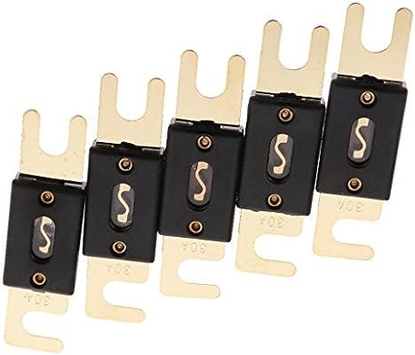 Homyl 5 x Fusibles ANL Plaqu/é Or 30 Amp 32V Pi/èce /Électronique Voiture