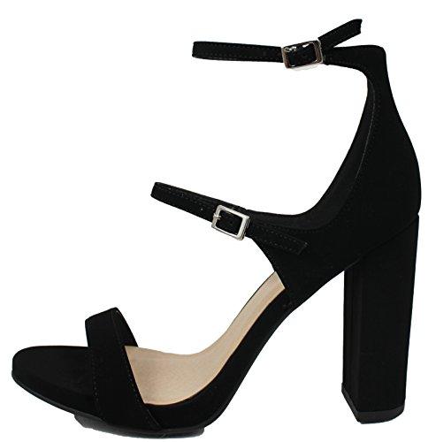 Delicious Womens Open Toe Triple 3 Straps Chunky Block Heel Black 8WfFifgJwo